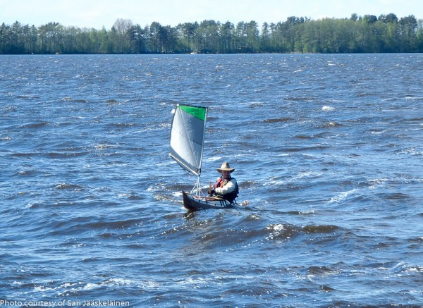 First try at kayak sailing, with Viatrix on Lake Vanaja, May 24th 2015