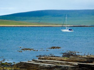 Sailboat heading out past Costa/Eynhallow passage