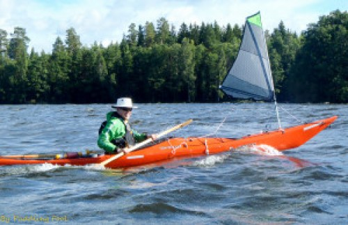 First time kayak sailor getting the hang of it! :D Lake Vanaja, Finland