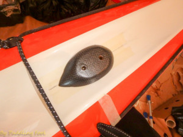 """Base plate adapter """"dry fitted"""" I decided to install the mast so that the mast centerline is approx 790mm from the tip of the bow of the kayak."""