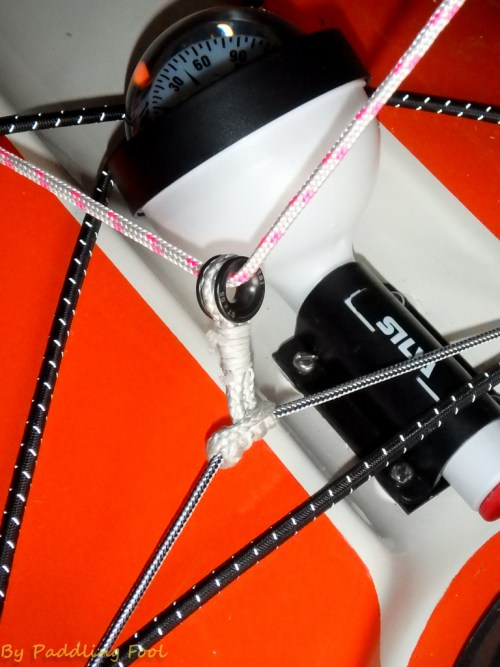 Adjustability is key here. Have the pulley point as close to center as possible.. but keep the line clear of the compass.A