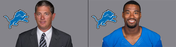 Detroit Lions Head Coach Jim Schwartz and WR Calvin Johnson