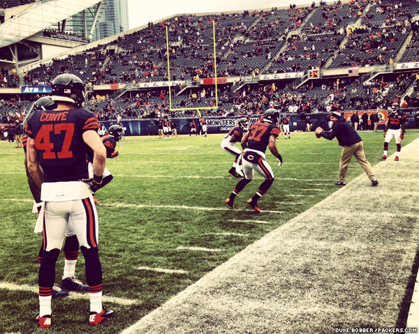 """The Chicago Bears, sporting their """"1940's Monsters of the Midway throwback jerseys and solid blue helmet,"""" according to their website"""