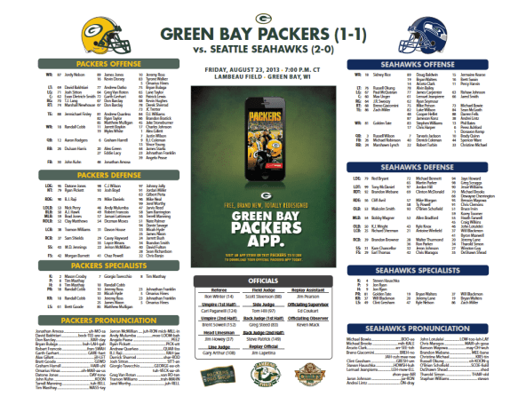 Packers vs. Seahawks Roster Card