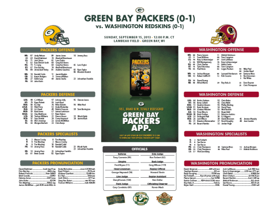 Packers vs. Redskins roster card