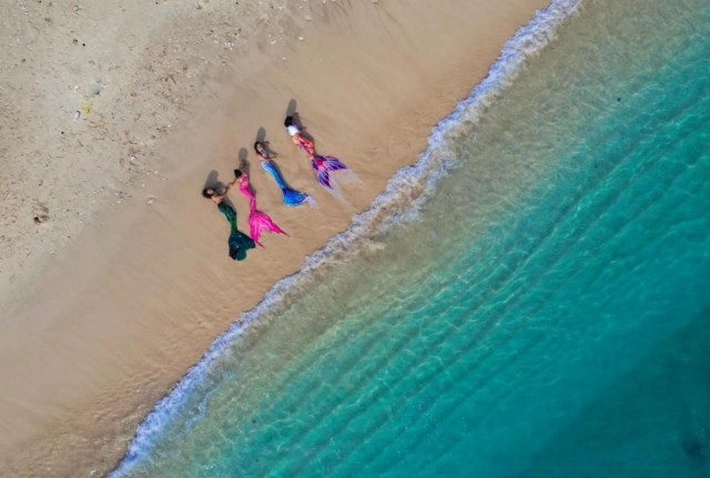 Mermaids on Beach from above