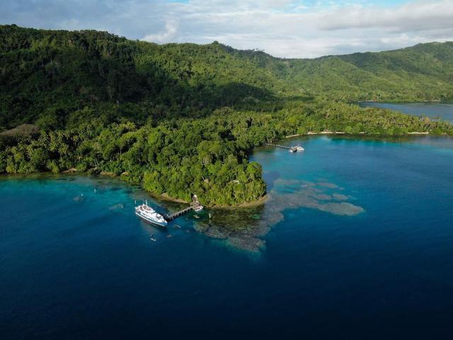 aerial shot of tawali leisure and dive resort