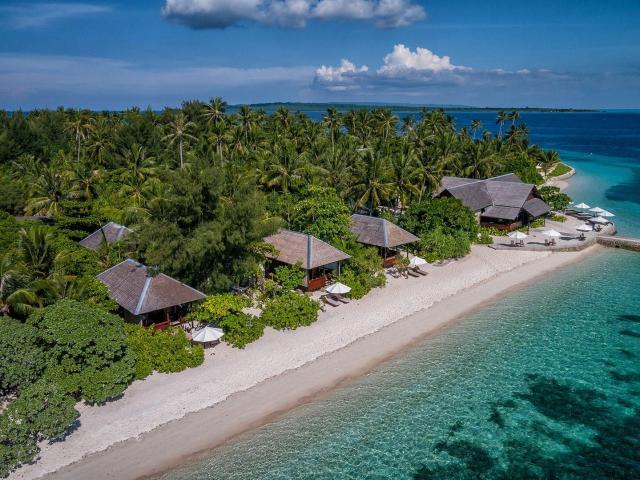best house reef aerial shot of wakatobi dive resort