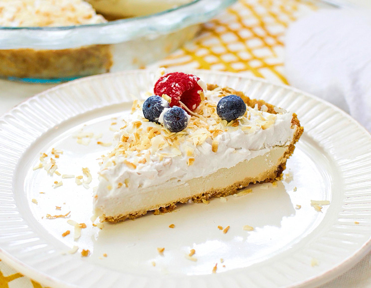 Whip up this silky-sweet coconut cream pie for a guilt-free dessert rich in healthy fats. Light, sweet, and decadently fluffy!