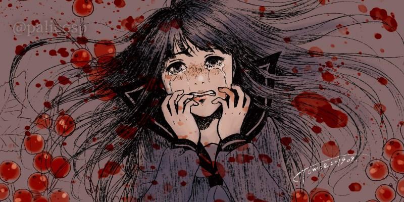 泣くセーラー服女子のイラスト