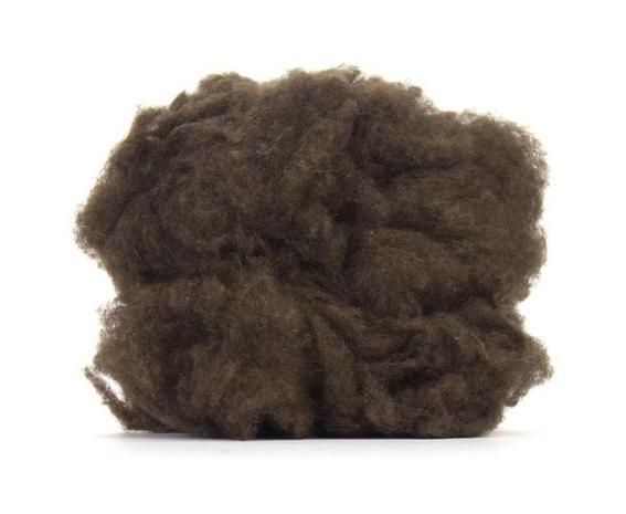 De-Haired Yak Down. Natural Dark Brown