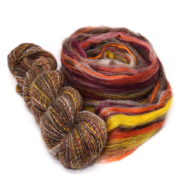 50% Natural De-Haired Tibetan Yak Top and 50% 63ct Merino Wool Top