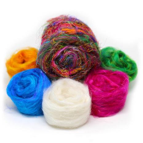Recycled Sari Silk Sliver Pulled Rovings from India