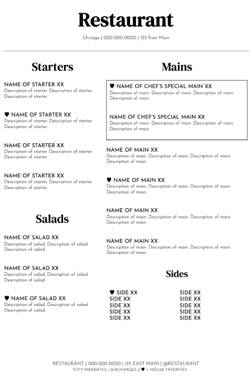 Pared's free restaurant menu template