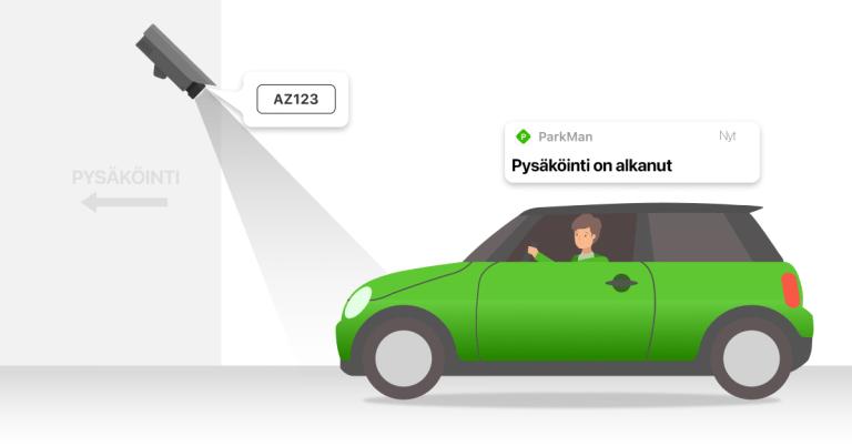Autoilija ajaa pysäköintihalliin ja rekisterikilpi tunnistetaan