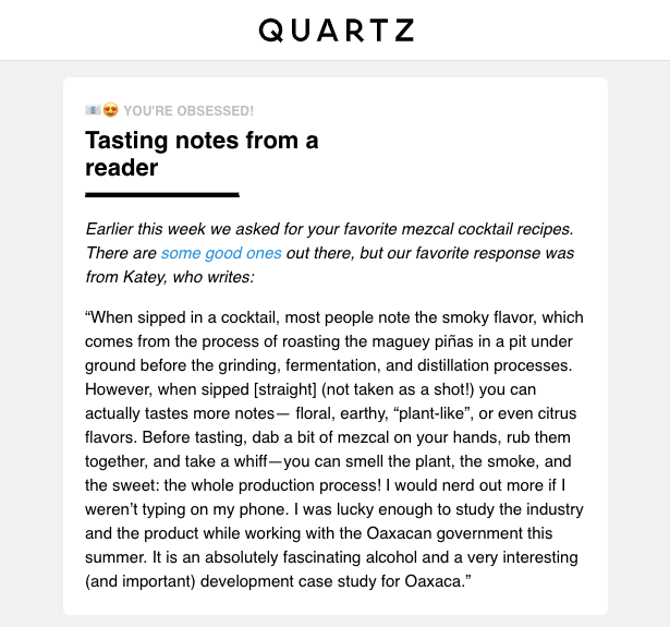 Quartz Obsession newsletter