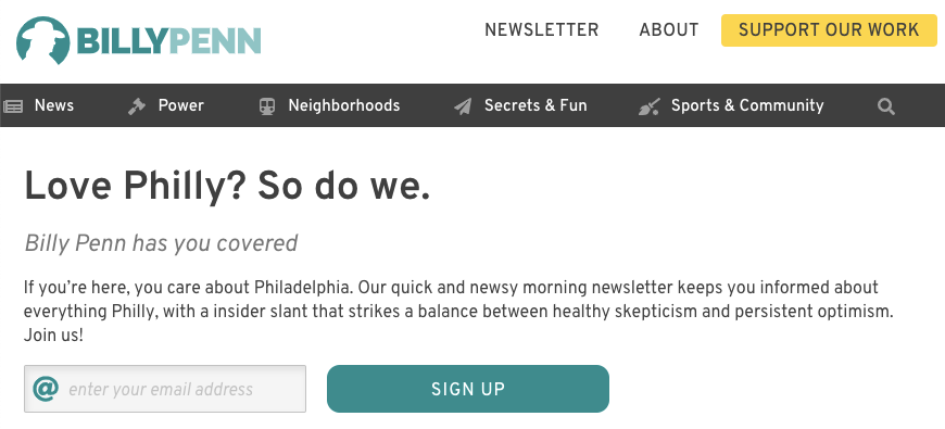 Billy Penn newsletter sign up
