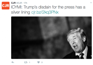 tweet by Columbia Journalism Review
