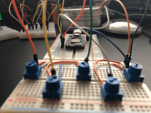 Picture of a breadboard and Photon
