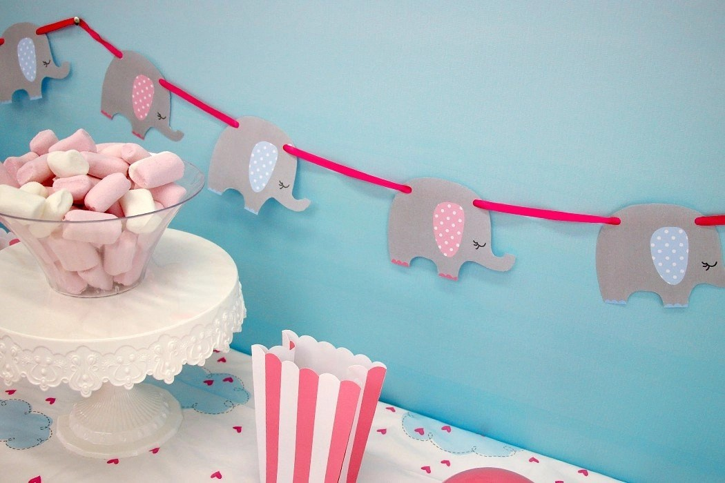 Free Printable Elephant Baby Shower Bunting Party