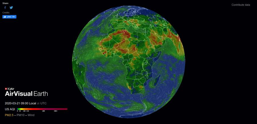 Qualité de l'air sur terre