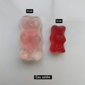 Bonbons oursons plongés dans l'eau salée