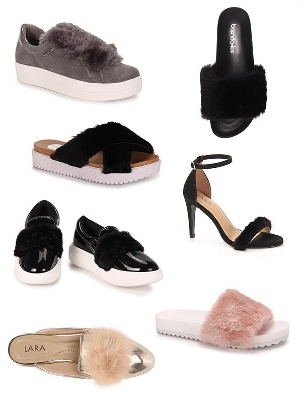 Sapatos com pelúcia