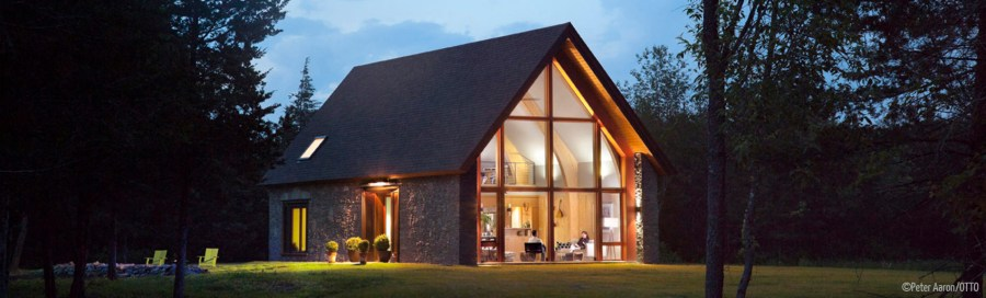 A welcoming image of Hudson Passive House (New York) in the evening