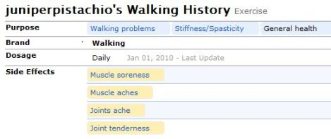 A Patient's Walking Treatment Evaluation History