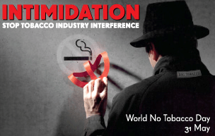 The 2012 World No Tobacco Day poster.  This year's theme, selected by the World Health Organization, focuses on exposing the tobacco industry's interference with global tobacco control efforts.  Learn more by clicking the image.