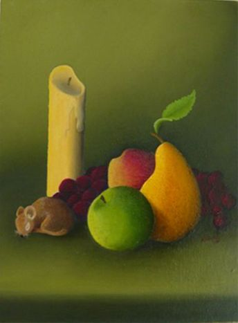 """""""Autumn Still Life with Mouse"""" by PD Artist J. Marley, who learned to paint with his non-dominant hand after developing tremors"""