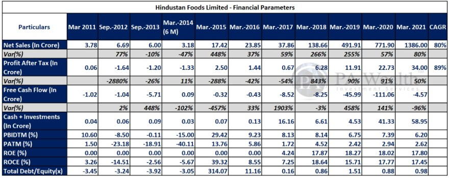 hindustan foods stock research with details of financial performance highlights