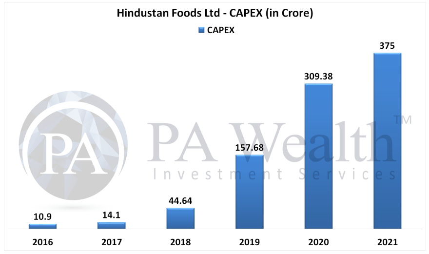 hindustan foods stock research with details of capital expenditure