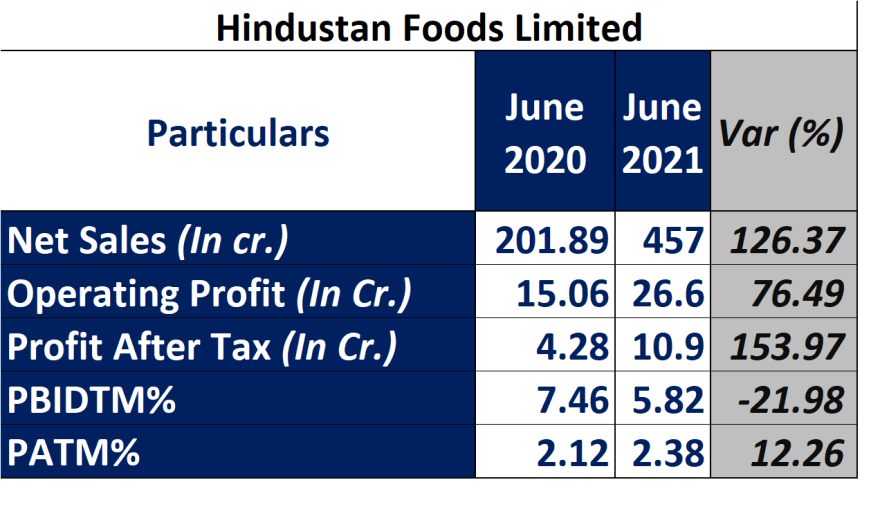 hindustan foods stock research with details of recent quarter performance