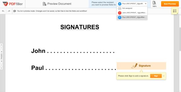 PDFfiller, SendToSign, Assign roles, Add fillable fields, sendtogroup, linktofill