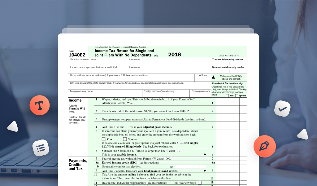 Irs Tax Form 1040 Ez Choice Image Free Form Design Examples