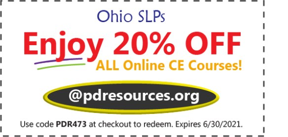 Ohio SLPs save 20% on CEUs for license renewal! Our ASHA-approved online CEUs allow you to earn credit in the comfort (and safety) of your own home!