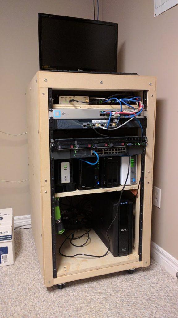 homemade server rack work in progress