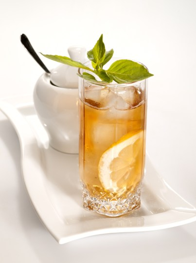 Iced Green Tea with a fresh sprig of mint