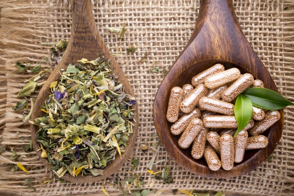 Loose cut herb and herbs in capsules