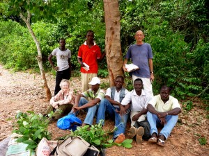 The team collecting seeds and plantlets in a neighbouring rainforest