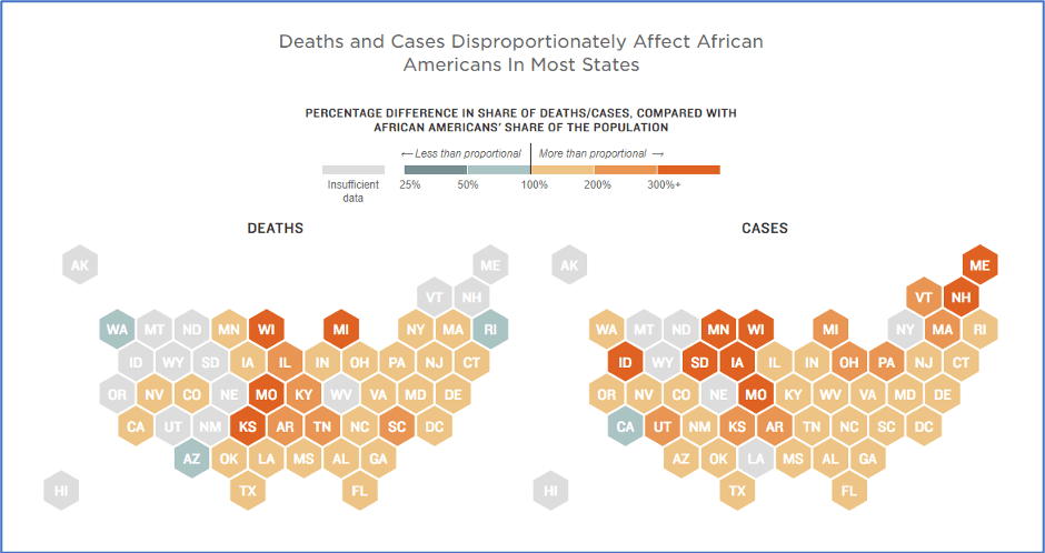 Map illustrating how deaths and cases of coronavirus disproportionately affect African Americans in the United States, by state (Source: NPR.org)