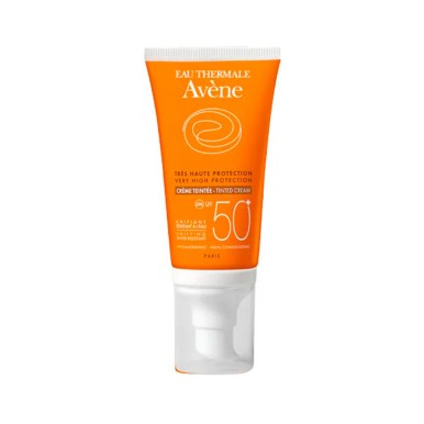 Crema Protector Solar Avène SPF50+ con color Perfumerías Ana