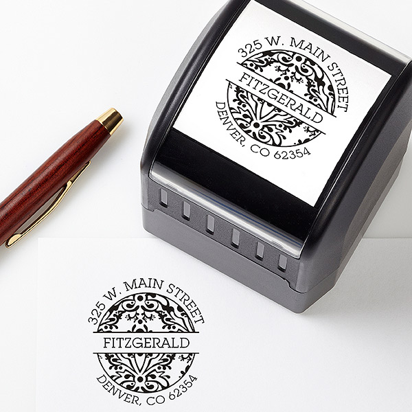 Damask Self-Inking Address Stamper