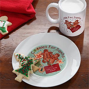 Cookies and Milk for Santa Personalized Plate and Mug