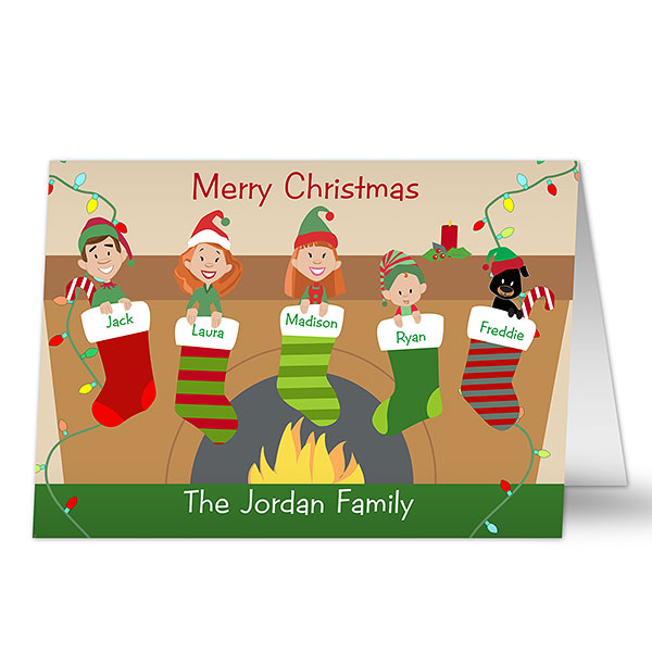 Stocking Family Characters Personalized Cards