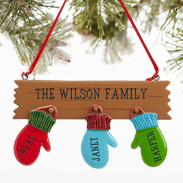 Warm Mitten Family Personalized Ornament