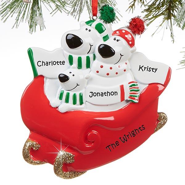 Polar Bear Family Personalized Ornament