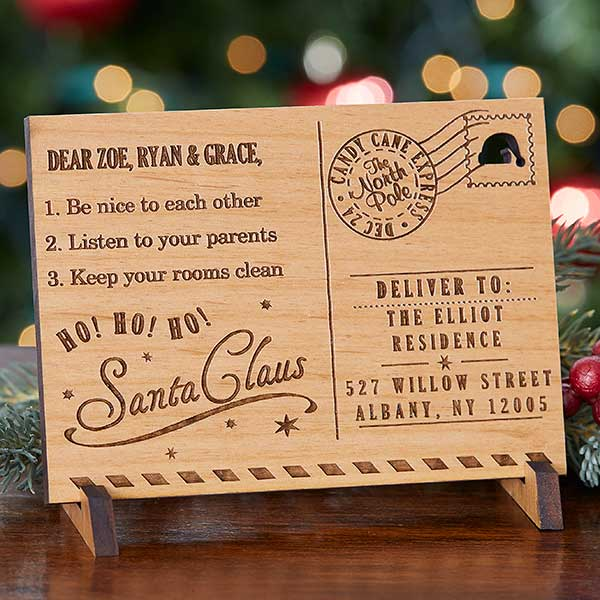 Wood Engraved Letter from Santa