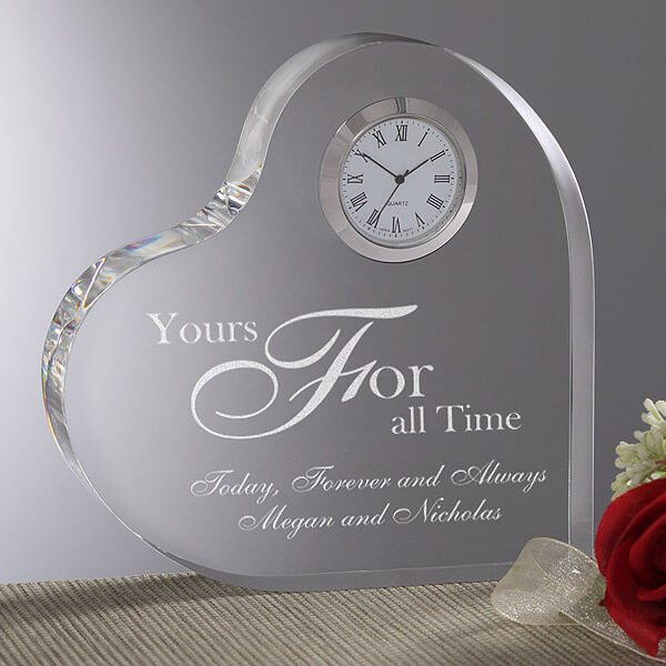 Engraved Heart Clock Wedding Gift